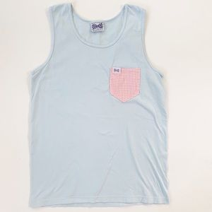 Fraternity Collection Gingham Pocket Cotton Tank